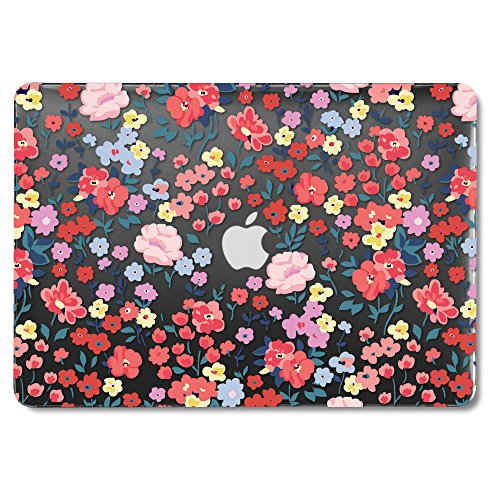 GMYLE MacBook Air 13 Inch Case Older Version Compatible A1369/A1466 2008-2017 Release NO Touch ID, Hard Plastic See Through Glossy Scratch Guard Cover for Apple Mac Air 13 - Black Pastoral Floral