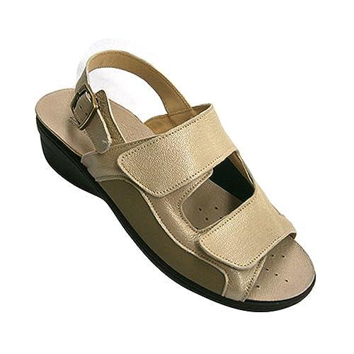 Con Velcro Combinada De Muy Ligera Y Licra Mujer Piel Sandalia 8PywOvNmn0