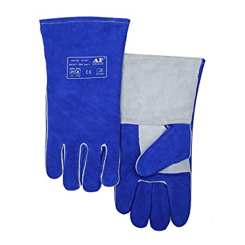 Guantes de soldadura de 35 cm de piel de vaca para soldador de pulgar y palma reforzados con certificado CE azul MIG/Stick Guantes de soldadura: Amazon.es: ...