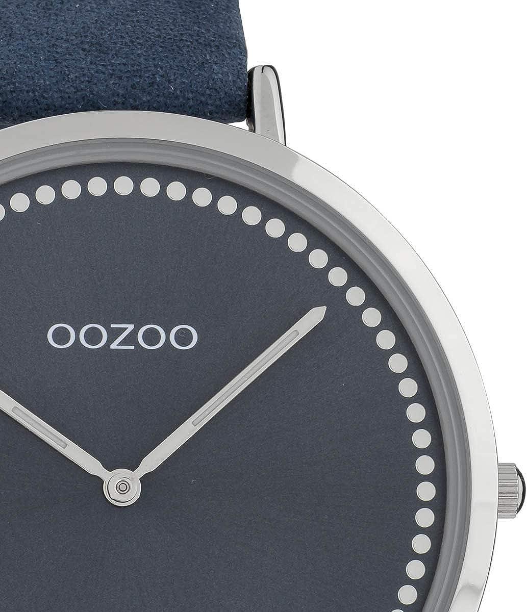 Oozoo Montre à quartz vintage pour femme avec bordure d\'index et mouvement à quartz SII 40 mm Bleu/Bleu.