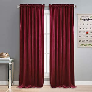 NICETOWN Velvet Curtains and Drapes for Bedroom - Ruby Red Christmas & Thanksgiving Decor Panels for Home Theatre/Film Room/Stage (Set of 2, Rod Pocket Design, 84 inches Long)