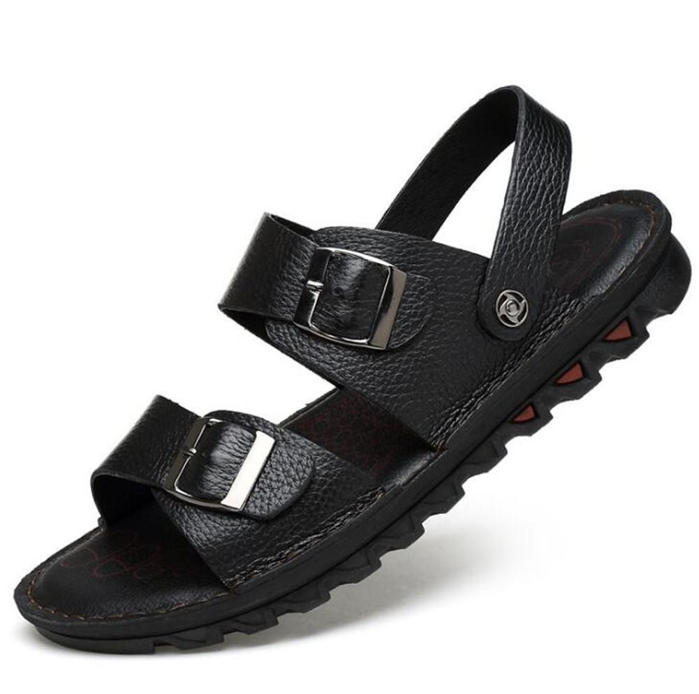 Zapatos de hombre Sandalias de cuero genuino Hebilla de cinturón de verano de playa Cómoda Zapatillas Chanclas de moda Punta abierta Tamaño exterior 38 a 46 , black , EU42 EU42|black