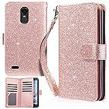 #10: LG Stylo 3 Case, LG Stylo 3 Plus Case, UrbanDrama LG Stylo 3 Wallet Case Flip Folio Kickstand Cover Sparkly PU Leather Card Slot Protective Case for LG Stylo 3 / LG Stylo 3 Plus 2017, Shiny Rose Gold