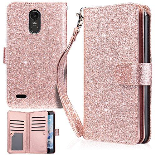 LG Stylo 3 Case, LG Stylo 3 Plus Case, UrbanDrama LG Stylo 3 Wallet Case Flip Folio Kickstand Cover Sparkly PU Leather Card Slot Protective Case for LG Stylo 3/LG Stylo 3 Plus 2017, Shiny Rose Gold