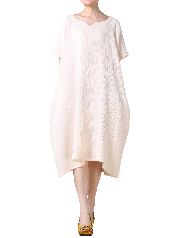Voguees Women's Short Batwing Sleeve Loose Dress for Summer