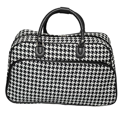 World Traveler 21-Inch Carry-On Shoulder Tote Duffel Bag, Black Trim Houndstooth, One (Best World Traveler Shoulder Bags)