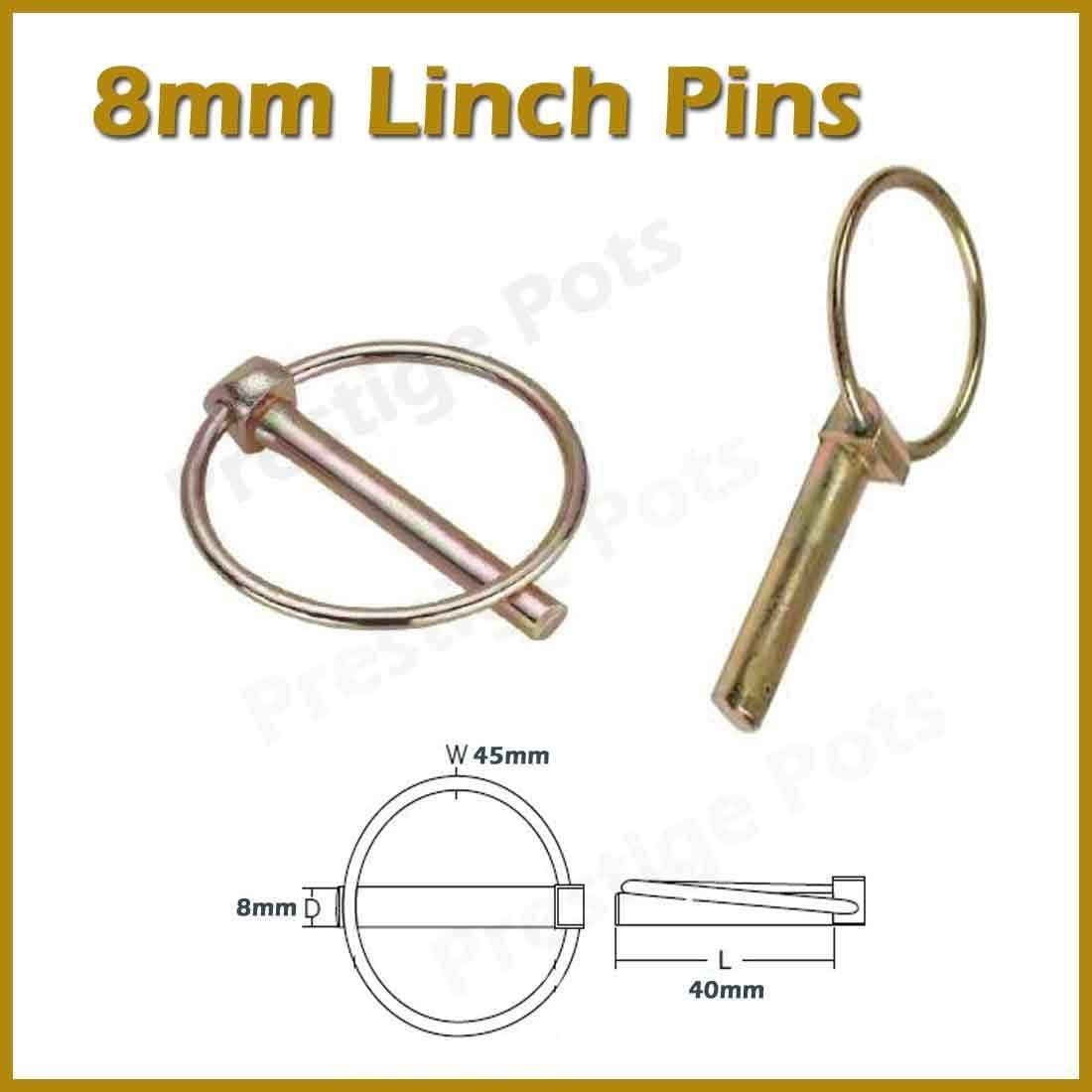 8mm Linch Pins Pack of 10 Length 40mm Ring 45mm Zinc Coated For Corrosion Protection Lynch Fastener Tractor Trailer Plant Agricultural Machinery