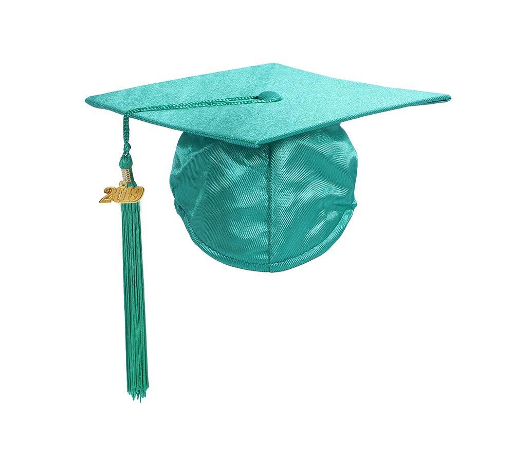 Preschool and Kindergarten Graduation Shiny Gown Cap Tassel with 2019 Year Charm