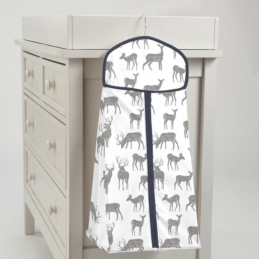 Carousel Designs Gray and Navy Deer Diaper Stacker