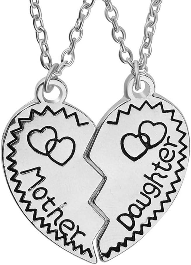 luoem collares de regalo de día de la madre de madre hija a juego Puzzle Corazón Partido colgantes collares Set mamá joyería regalo (plata)