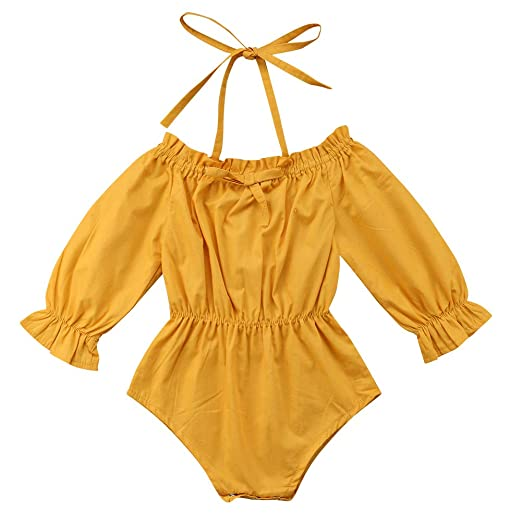 11946500dfbf Amazon.com  Newborn Baby Girl Off Shoulder Romper Bell Sleeve ...