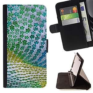 For Samsung Galaxy A5 ( A5000 ) 2014 Version Case , Diseño floral verde de la tela de Verano- la tarjeta de Crédito Slots PU Funda de cuero Monedero caso cubierta de piel