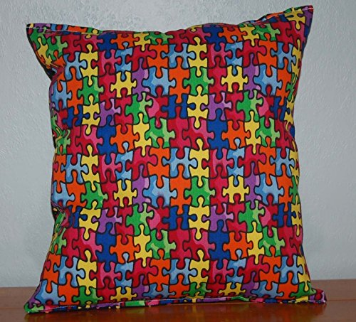 "Autism Pillow HANDMADE Autism Awareness Pillow Made in USA Pillow is approximately 10"" X 11"