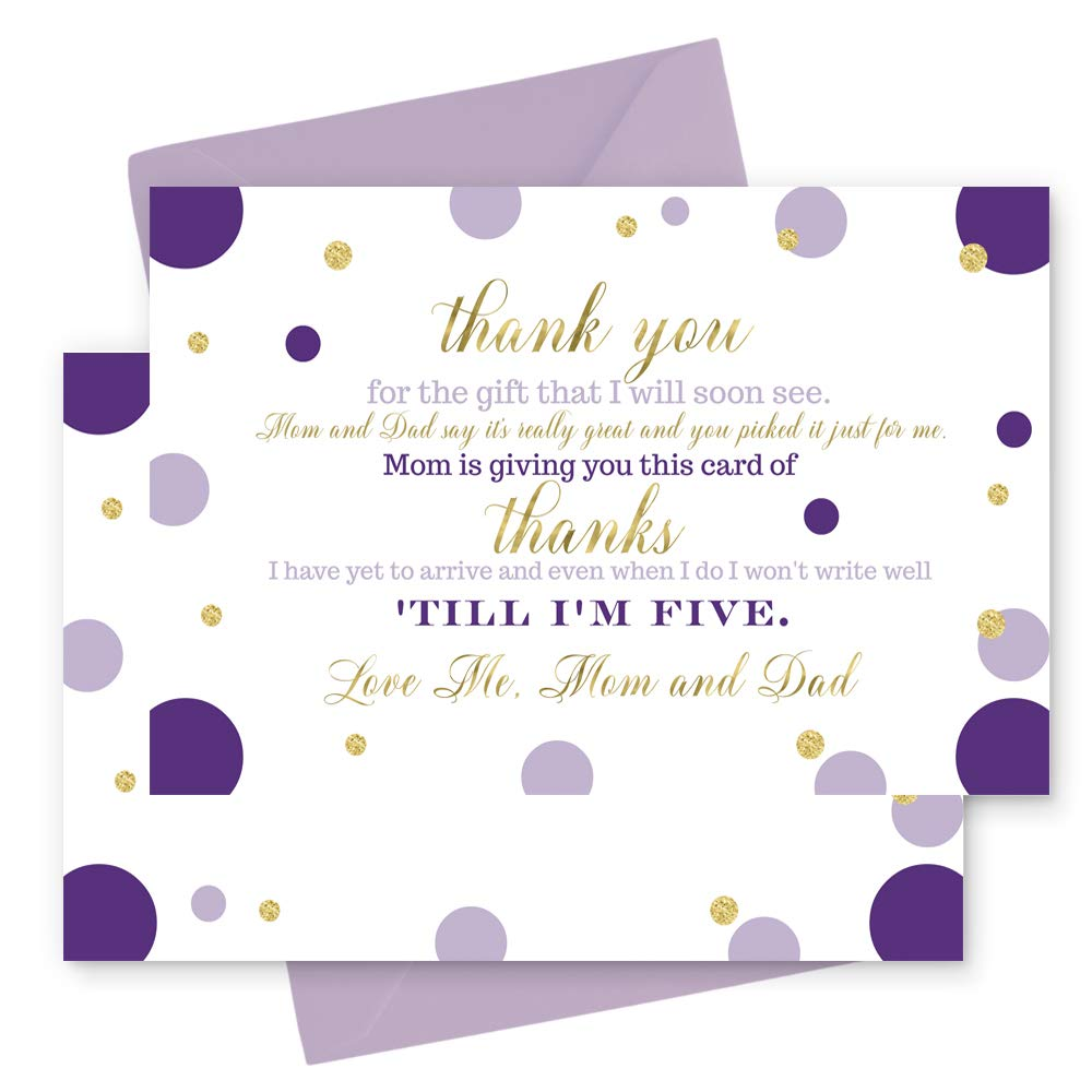 Amazon.com: 15 Purple and Gold Thank You Cards with Lilac Envelopes  -Stationery for Girls Baby Shower Dazzling Abstract Dot: Health & Personal  Care