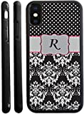 Rikki Knight Letter R Grey Pink Black Damask Dots Design iPhone X Hybrid TPU Case Cover (Black Rubber with Front Bumper Protection) for iPhone X