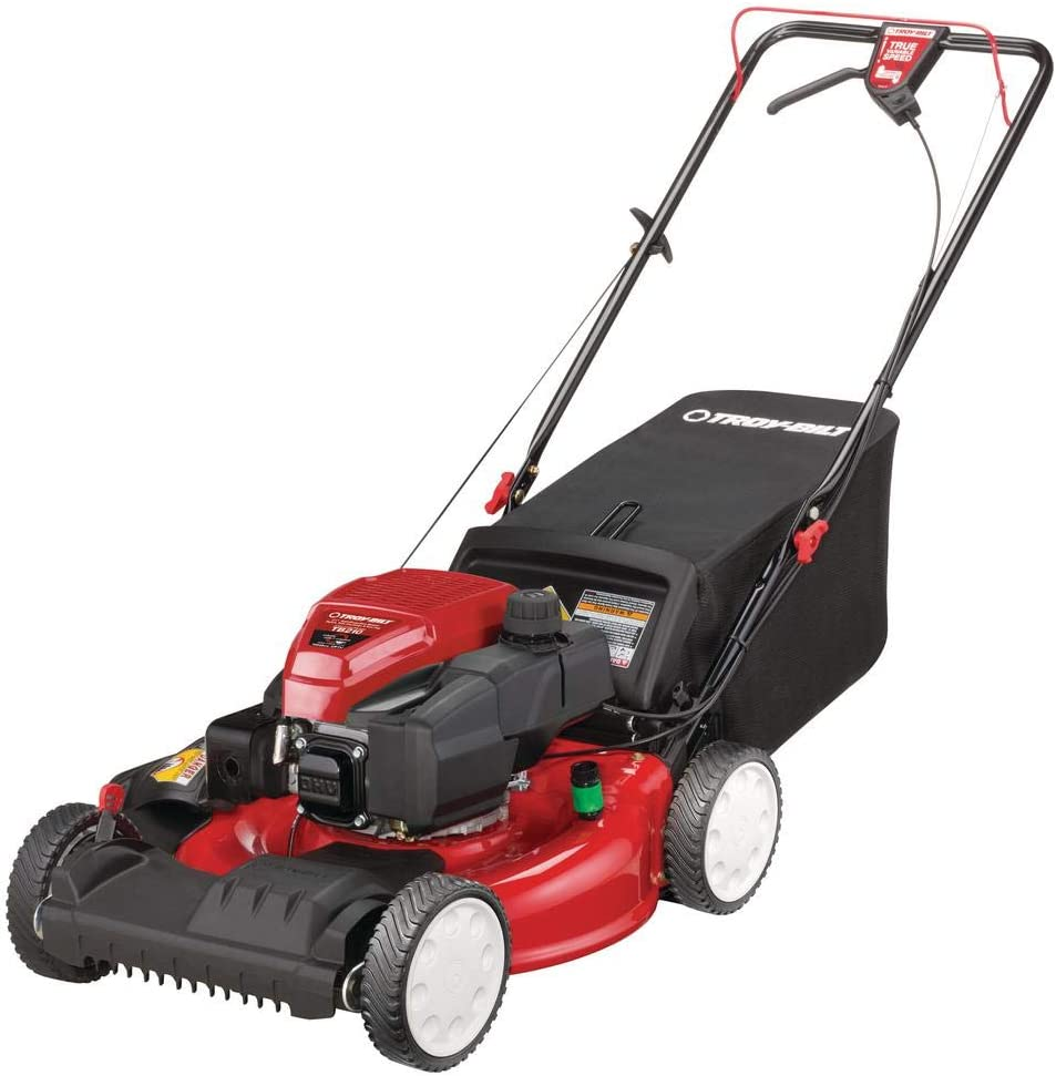 Troy-Bilt 21 in. 159 cc Gas Walk Behind Self Propelled Lawn Mower with Check Dont Change Oil, 3-in-1 Triaction Cutting System