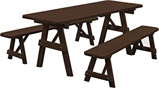 product image for Pressure Treated Pine 6 Foot Picnic Table with Detached Benches- Walnut Stain