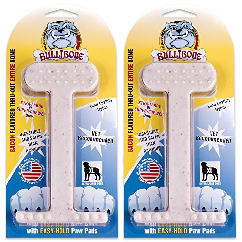 Cheap Bullibone Nylon Dog Chew Toy Bacon XL Nylon Bone – 2 Pack- Improves Dental Hygiene, Easy to Grip Bottom, and Permeated with Flavor