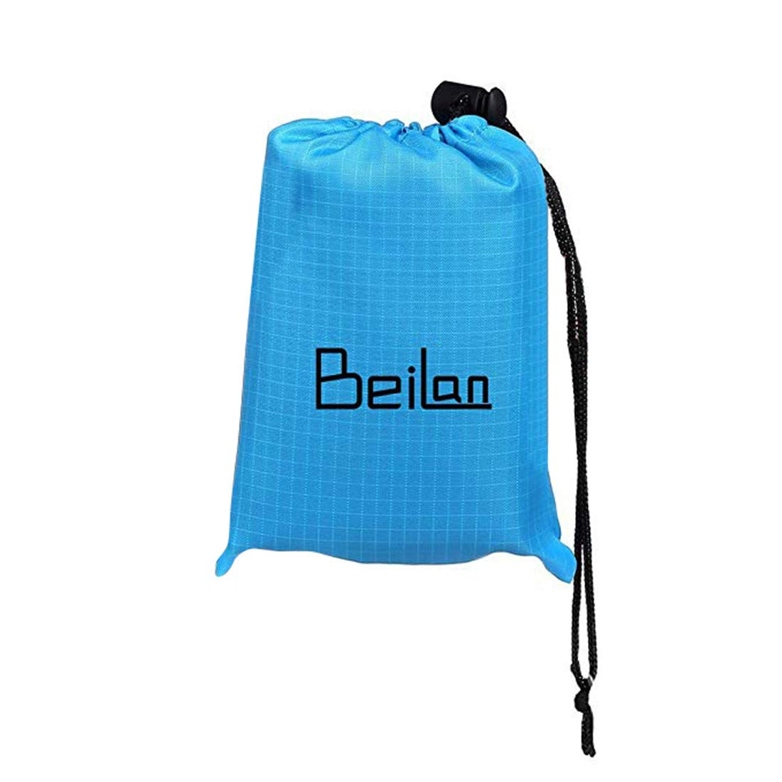 BeiLan Portable Picnic Blanket Durable Lightweight Waterproof Sand Proof Beach Camping Travel Mat with Carry Bag for Outdoors Activities (140 * 152cm, Blue & Black) ODS-220