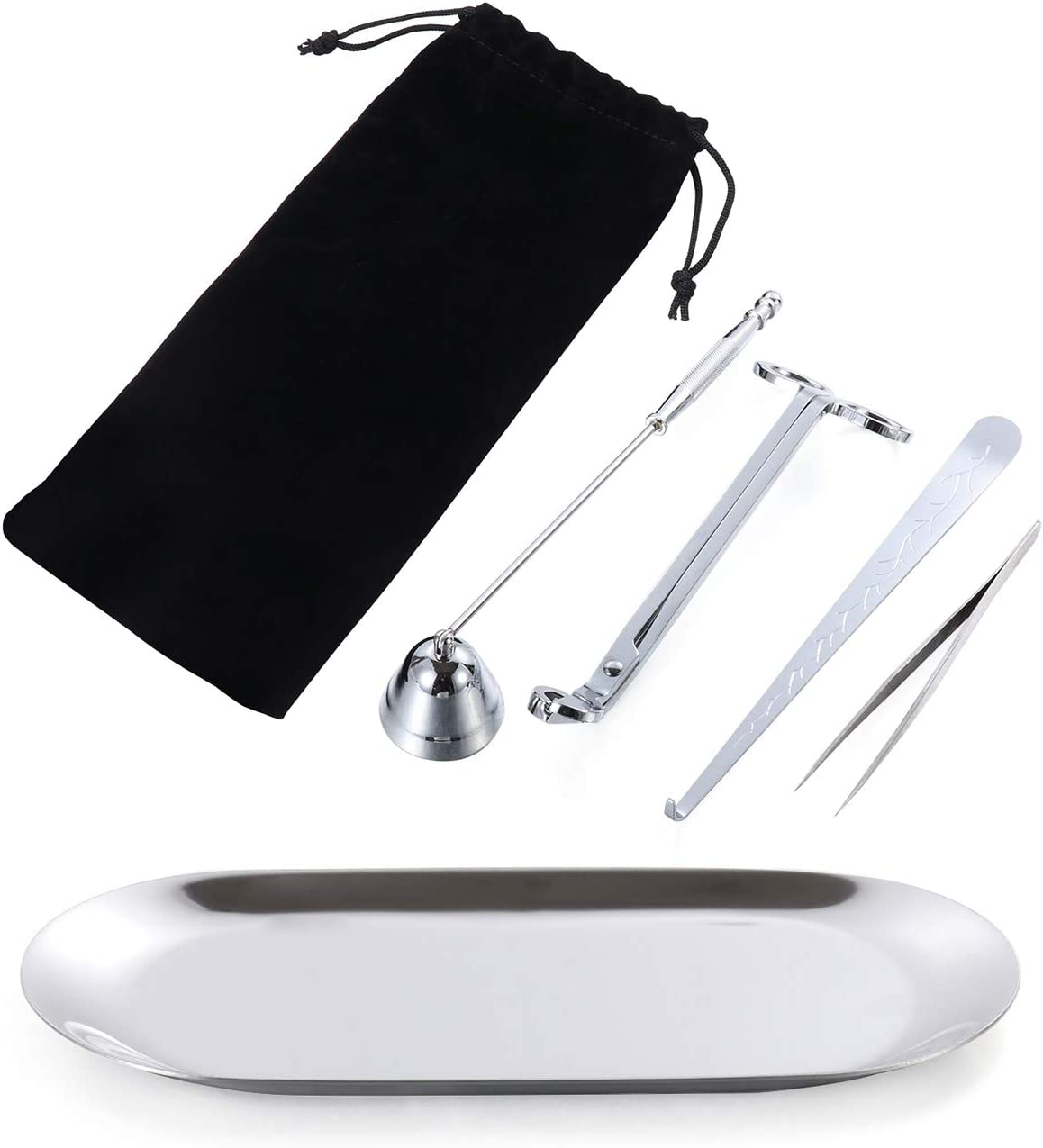 gootrades 6 in 1 Candle Wick Trimmer Candle Snuffer Candle Accessories Set Stainless Steel Dipper Tweezers Storage Bag Home Living Tool