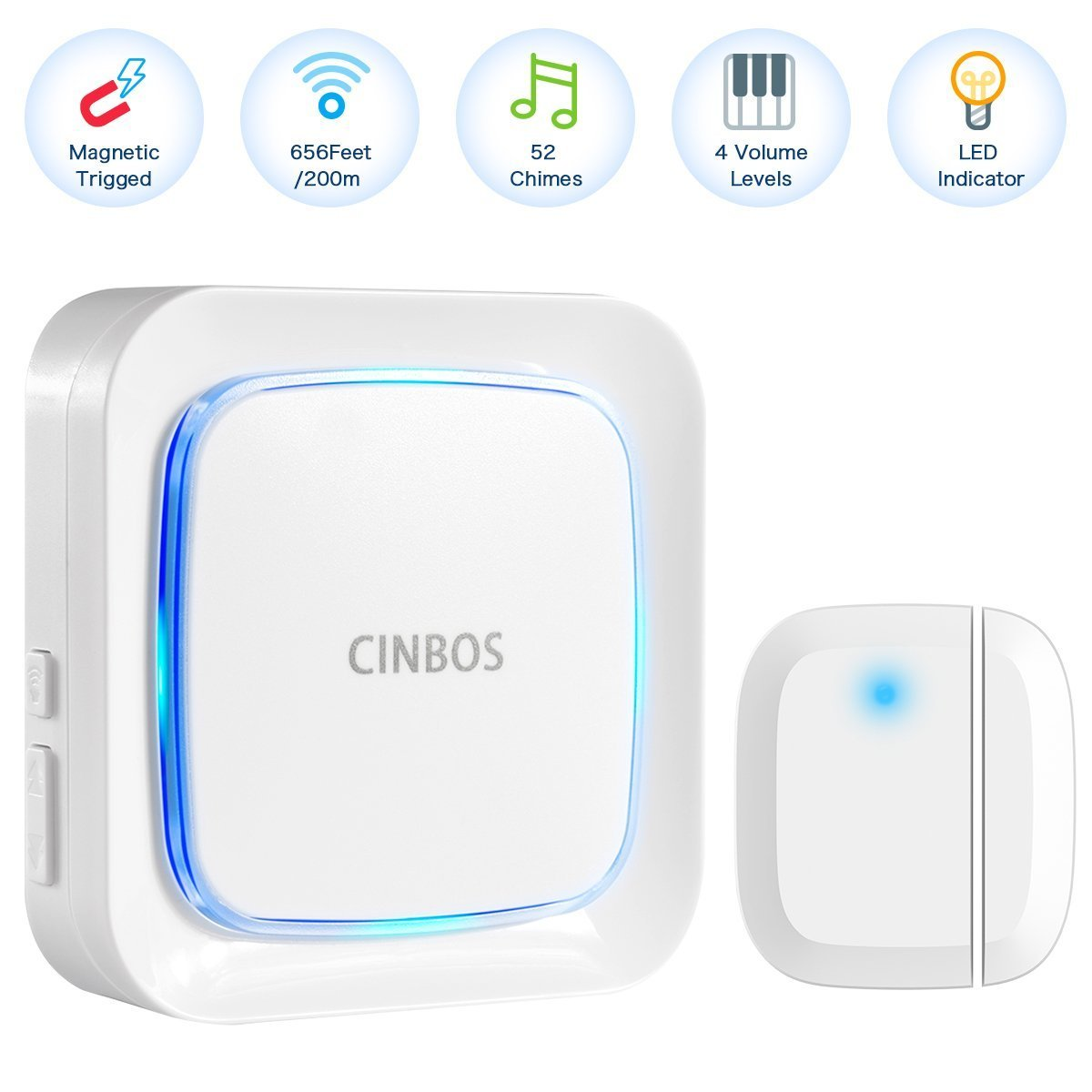 Door Alarm for Home/Office, Cinbos Wireless Door Open Chime, Range 656 Feet/52 Chimes/4 Level Volume/LED Flash Expandable Home Security Magnetically Triggered Window Entry Alert Doorbell