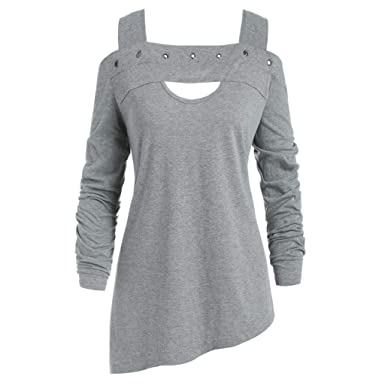 Ipogp Women S Long Sleeve Solid Color Strapless Pullover Ladies Tops