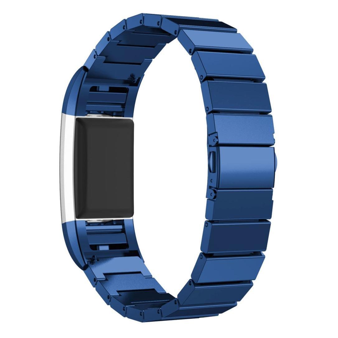 AloneA純正ステンレススチールブレスレットスマートウォッチバンドストラップfor Fitbit Charge 2 ブルー ブルー B01M9BCJ6H