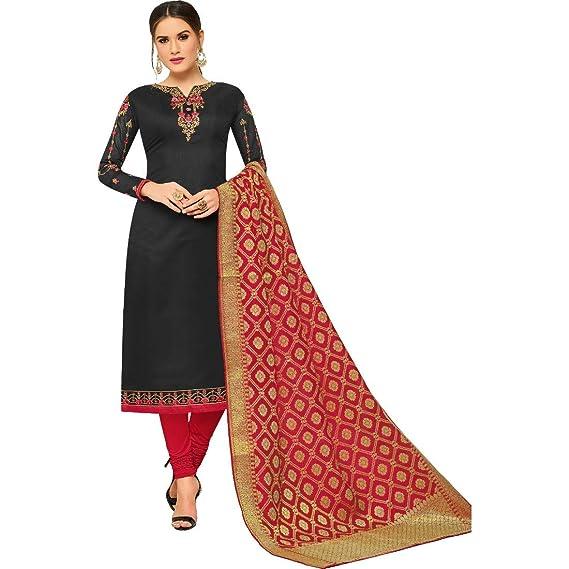 a5a1000a4 M F Next Women s Chanderi Silk Cotton Embroidered Salwar Suit with Banarasi  Dupatta (SFR 10012 MF