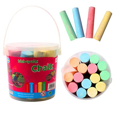 Color Chalk for Kids - 15/20 Pack Dust Free Chalk Pavement Chalk for Kids Won't Roll Away Jumbo Sidewalk Chalk Bucket Set Perfect Easter Basket Stuffers Street Art Painting (B-15 PC): Electronics