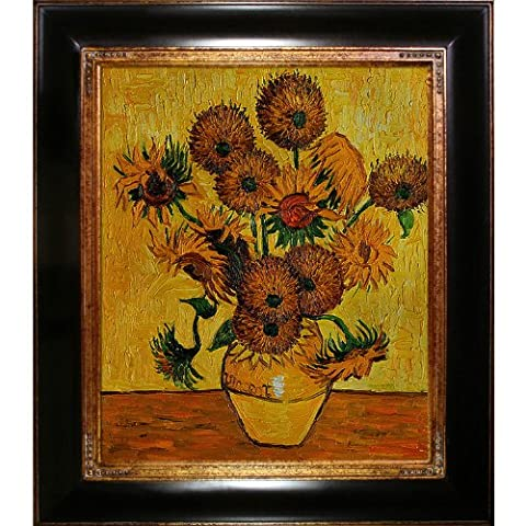 overstockArt Van Gogh Vase with Fifteen Sunflowers Painting, Opulent Frame, Dark Stained Wood and Gold Trim