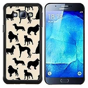 Especies perros Patrón Negro Beige- Metal de aluminio y de plástico duro Caja del teléfono - Negro - Samsung Galaxy A8 / SM-A800