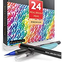 Arteza Real Brush Pens, 24 Colors for Watercolor Painting...