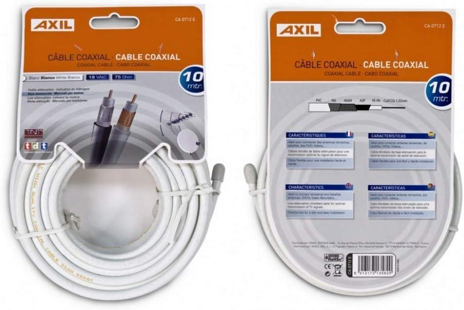Engel CA0712E - Bobina de cable coaxial (10 metros), color blanco: Amazon.es: Electrónica