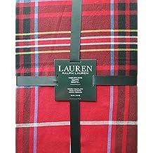 Lauren Ralph Lauren Baker Plaid Red 70 Inch Round Tablecloth, Red, Yellow, Blue, Black, White