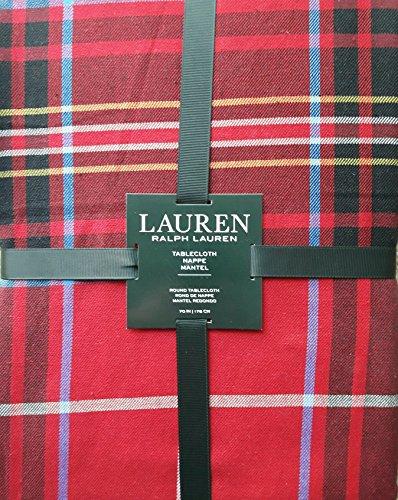 Ralph Lauren Plaid Fabric - Lauren Ralph Lauren Baker Plaid Red 70 Inch Round Tablecloth, Red, Yellow, Blue, Black, White