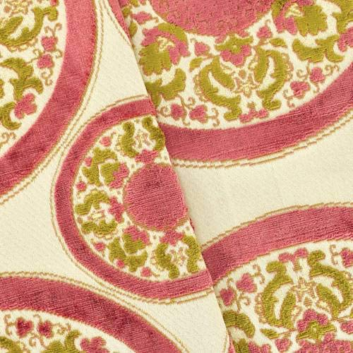 Deep Rose/Beige Medallion Velvet Jacquard Decorating Fabric, Fabric by The Yard