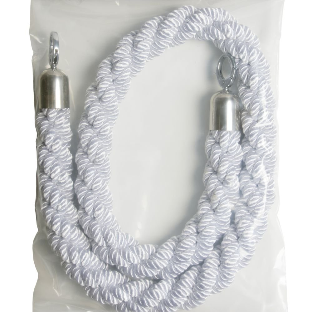 White Twisted Barrier Ropes Chrome Ends
