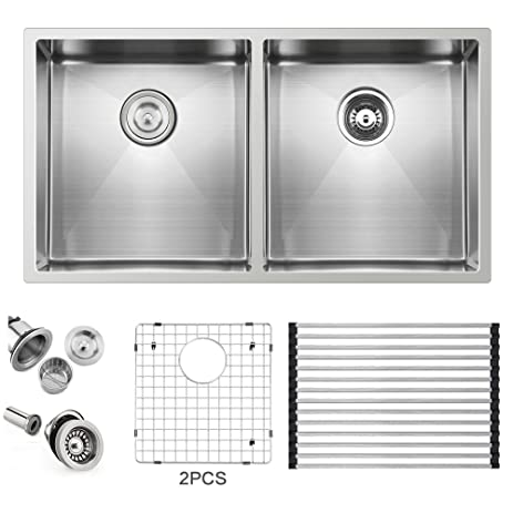 ufaucet commercial 32 inch 16 gauge 10 inch deep apron undermount single bowl stainless steel kitchen ufaucet commercial 32 inch 16 gauge 10 inch deep apron undermount      rh   amazon com