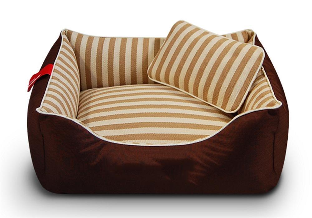 PLHF Cojín lavable de perro de cama de perro de perrera de algodón, Marrón, l