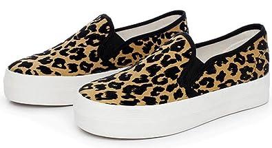 4c6843d4ac8 Summerwhisper Women s Trendy Leopard Elastic Low Top Canvas Loafers Platform  Skate Sneakers Brown 4 B(