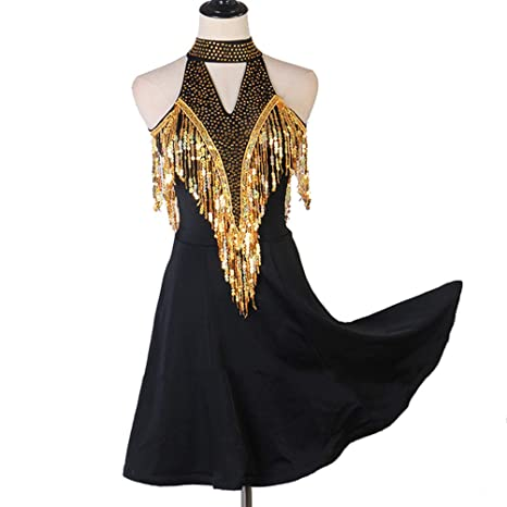 Vestido Halter Dorado con Lentejuelas y Baile de Salón para Mujer ...
