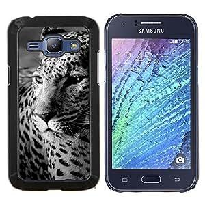 YiPhone /// Prima de resorte delgada de la cubierta del caso de Shell Armor - Piel de leopardo Piel Negro Blanco Lindo felino - Samsung Galaxy J1 J100