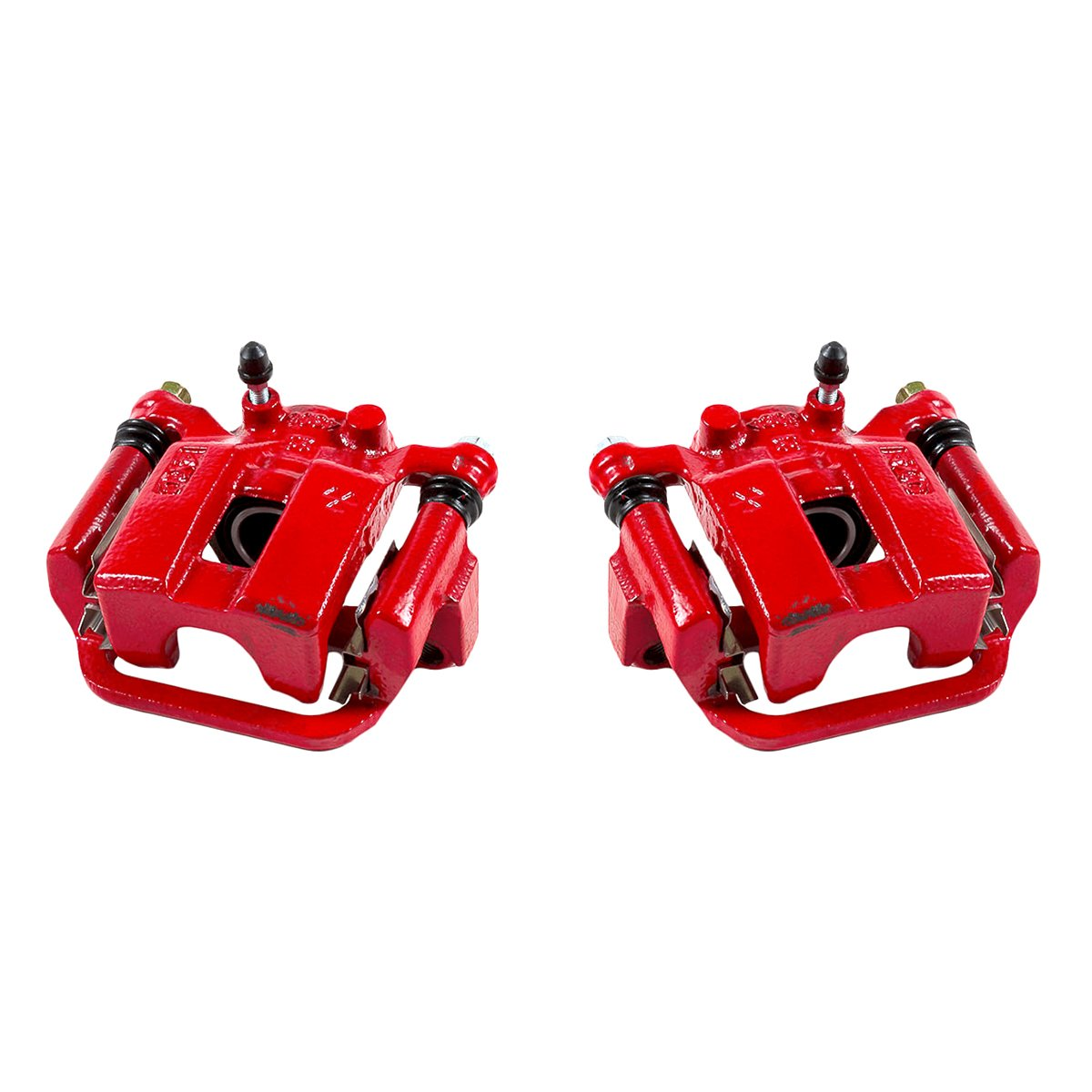 CK00947 [ 2 ] REAR Performance Grade Red Powder Coated Semi-Loaded Caliper Assembly Pair Set Callahan Brake Parts