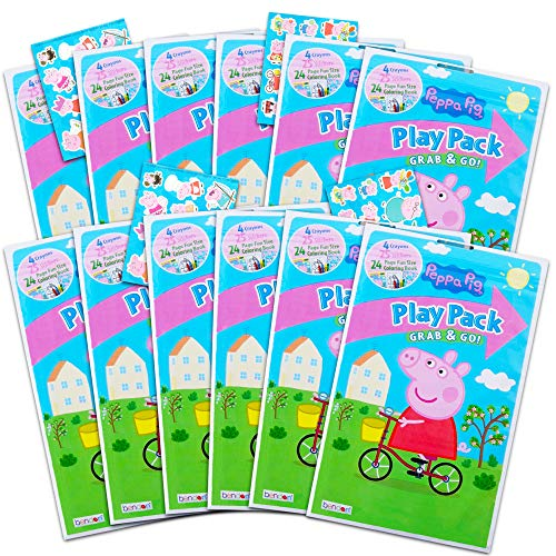 Peppa Pig Play Pack Grab n Go Set ~ Set of 12 Peppa Pig Play Packs with Crayons and Stickers (Peppa Pig Coloring Books)