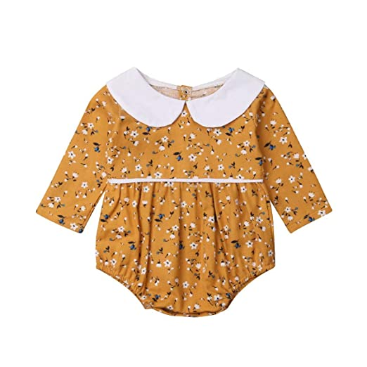 e4c1312cf5e7 Amazon.com  Newborn Baby Girl Floral Romper Top Long Sleeve Doll Collar Onesies  Bodysuit Autumn Winter Outfit Clothes  Clothing
