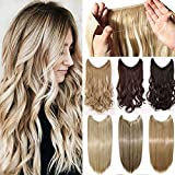 Secret Wire in Hair Extensions Straight Curly Wavy Hair Extension Long Hairpiece Blonde Brown Black Color For Women 20' Straight - Ash blonde mix bleach blonde