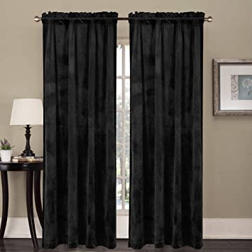 ComforHome Living Room Luxury Velvet in Solid Color Window Curtain Grommets Drapes Super Soft 52 inch by 108 inch(2 Panels Pure Dark Green