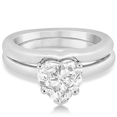 Amazoncom Heart Shaped Engagement Ring and Wedding Band Bridal Set