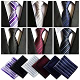 Lot 6 Pcs Mens Ties and 6 Free Matching Pocket Squares, Men's Classic Tie Necktie Woven Jacquard Neck Ties Gift box packing (6+6 style 09)