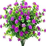 YUEJIA 6Pcs Artificial Flowers Fake Outdoor UV Resistant Plants Faux Plastic Greenery Shrubs Bushes Indoor Outside Hanging Planter Home Garden Window Box Patio Yard Office Wedding Decor Flower